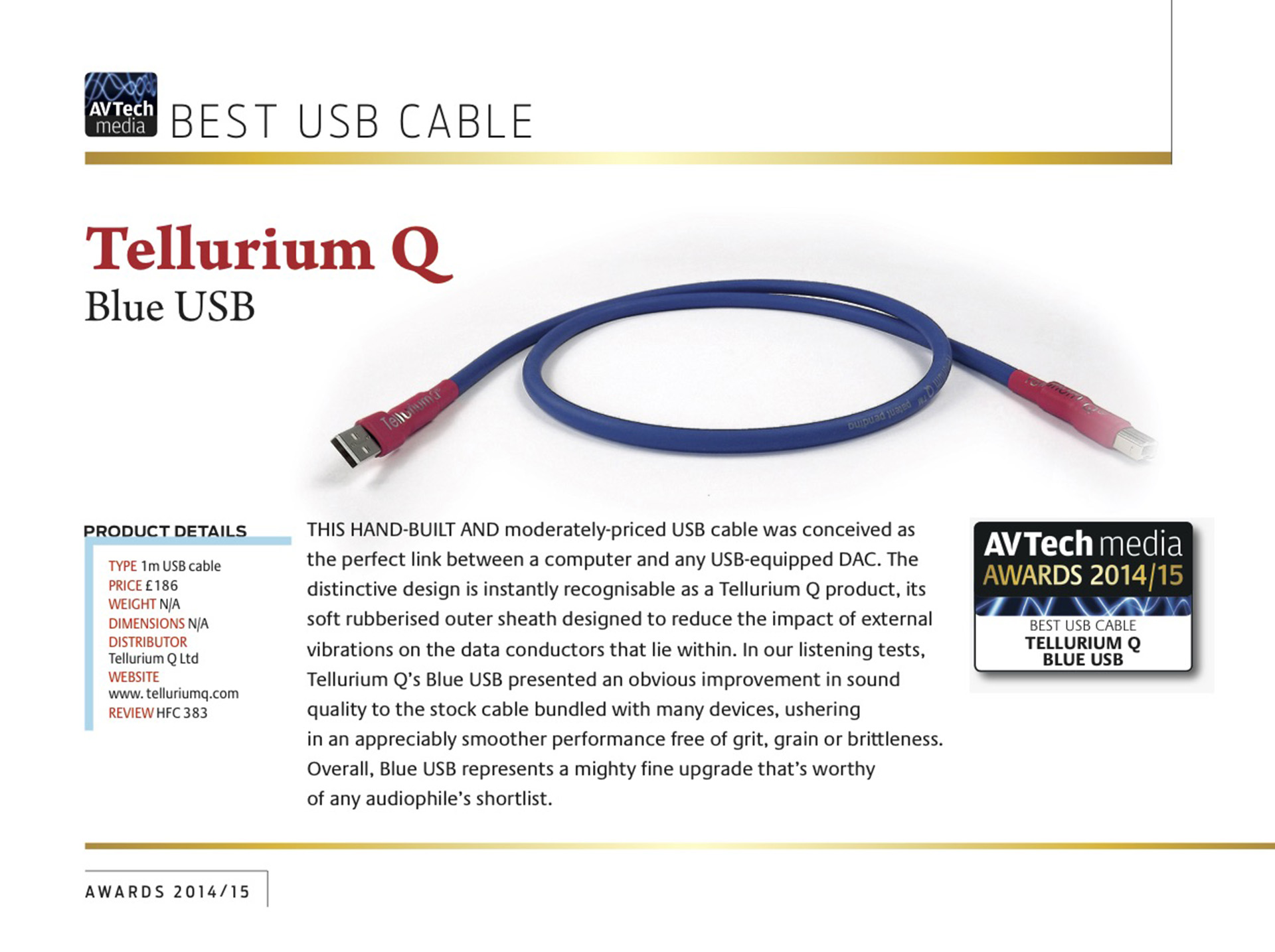 Tellurium Q | Blue | AV-Tech Award
